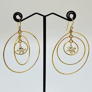 Triple Hoop Drop Earrings w/ Faux Pearl Cluster